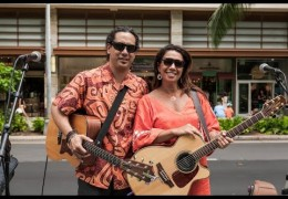 Na Mele No Na Pua with Lehua Kalima & Shawn Pimental at Waikiki Beach Walk on April 24, 2016 (@waikikibeachwlk) #outriggermele #outriggermusic